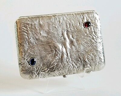 Large Antique Russian Silver Jeweled Cigarette Case Samorodok