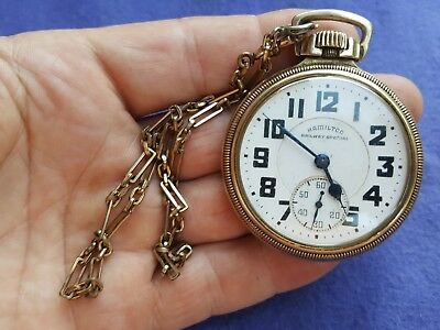 Antique 1944 Hamilton Railway Special Pocket Watch 992B 10K Gold Filled J BOSS