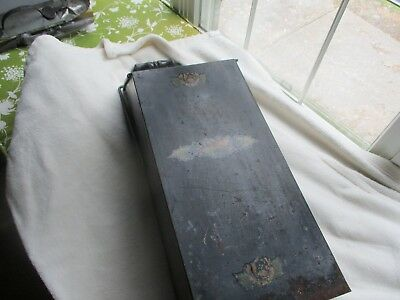 Antique metal fireplace bucket. Black Paint & Primitive. Handle