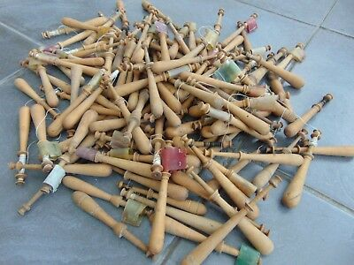 Lot Of 5 Antique French Wooden Lace Making Bobbins