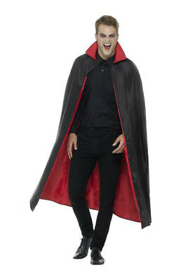 Reversible Black And Red Vampire Cape Dracula Accessory Halloween Fancy Dress