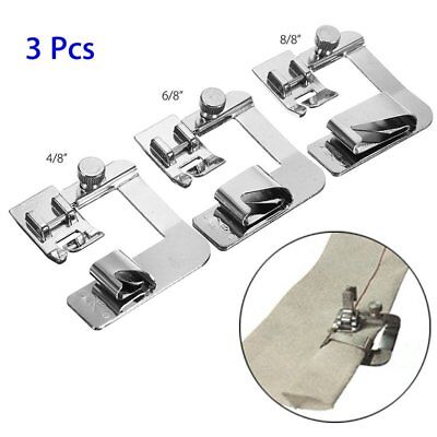 3Pcs Wide Rolled Hem Hemmer Foot For Domestic Sewing Machines Snap On Presser ZW