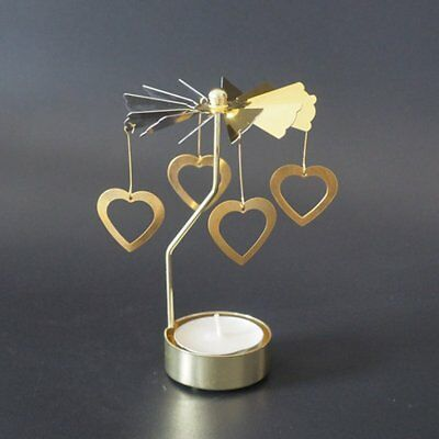 Classic Heart Shape Romantic Rotation Candlestick Candle Holders Diy GP