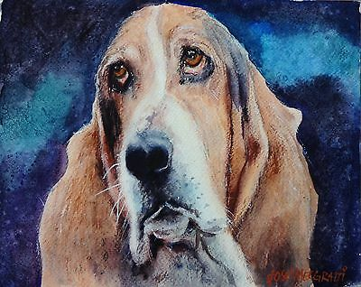 """Original Watercolor Painting Dog Portrait 10"""" X 8"""" one-of-a-kind Art Not A PRINT"""