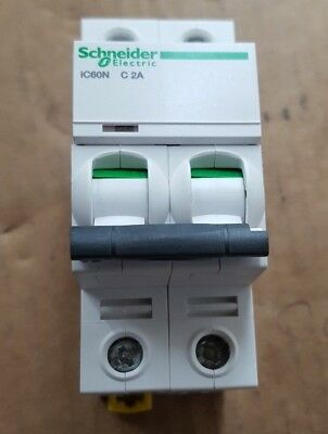 Schneider Ic60N C 2A 2 Pole Circuit Breaker Qty: 2 (Br2.3B11)