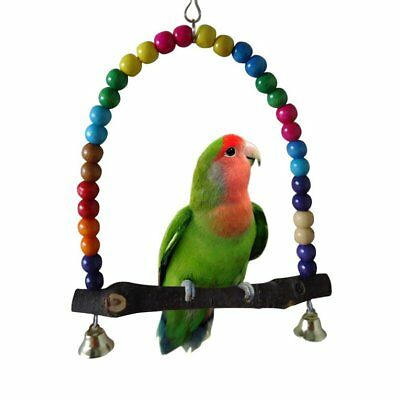 Middle And Small Size Pet Parrot Bird Stand Bar Swivel Ladder Swing 3EVFR