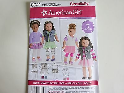 "New Simplicity sewing pattern 8041 for 18""  Girl Doll Clothes legs & tops"