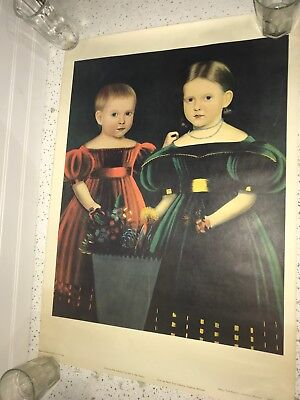 Portrait of Two Girls - Artist Unknown - American Folk Painting - P618
