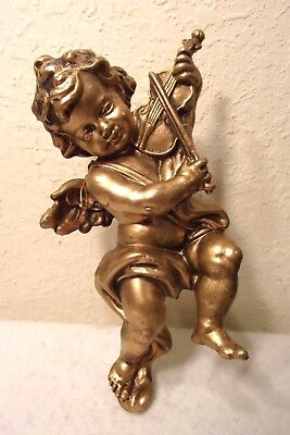 "A Large 11"" Vintage Hard Plastic Gold Tone Cherub Angel Christmas Ornament"