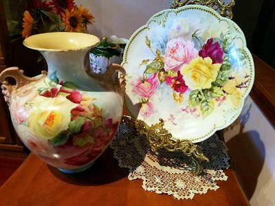 """13"""" Limoges Hand Painted Rose Charger Plaque"""