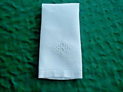 """Antique White Damask Towel With A Hand Embroidered Mono.,""""g.b.h"""", Circa1920"""