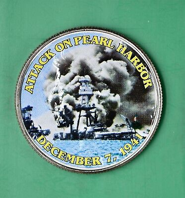 PEARL HARBOR Coin with Fact Card JFK Kennedy Half Dollar Genuine U.S WWII