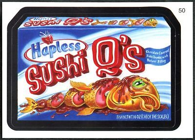 Sushi Q's  #50 Wacky Packages Series 7 Topps 2010 Sticker Trade Card (C1770)