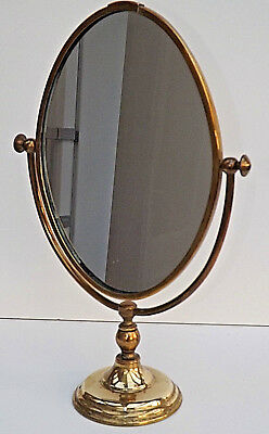 Victorian Style Brass Pedestal Base Shaving/Make Up Mirror