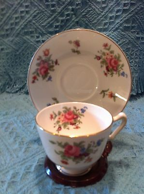 Nos Vintage Crown Staffordshire Bone China Cup And Saucer Posy Pattern