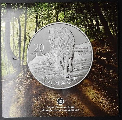 2013 Canada $20 coin .9999 fine silver, Wolf,  RCM package
