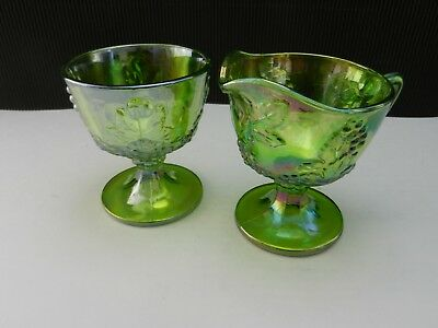 Colony Glass Harvest Grape Footed Cream and Sugar Green Carnival