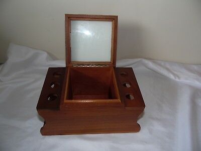 Vintage Wood Pipe Holder with Humidor  Pipe Rack Holds 6 Pipes Wood Box