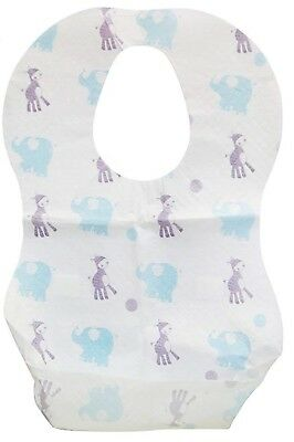 10 Pack Baby Disposable Bibs with crumb catcher pockets waterproof back 0+ Mths