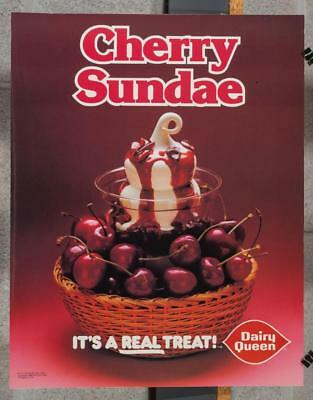 Vintage Dairy Queen Promotional Advertising Poster Cherry Sundae 1980 dq2