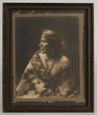 DRAMATIC orig. PHOTO of NAVAJO INDIAN w/BLANKET by Charles Carpenter c.1900