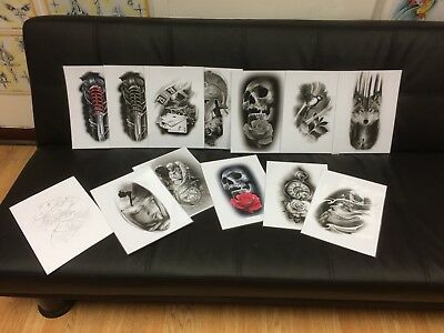 Tattoo Flash Set 3. A4 Size Black And Grey 10 Laminated Sheets. With Linework