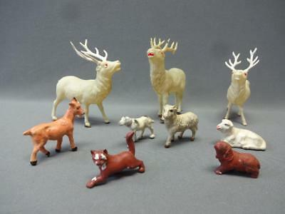Celluloid Reindeer Lot of 3 Japan Nativity Scene Santa Cat Dog Christmas Figures