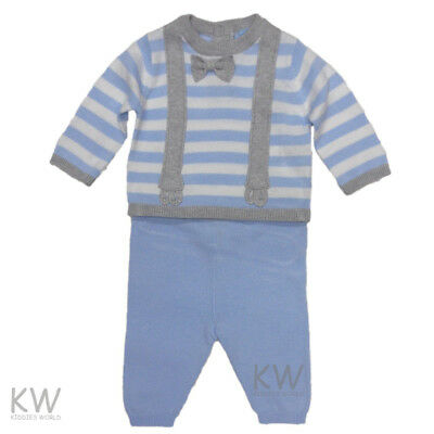 Baby Boy Knitted Spanish Style Suit set Rock a bye baby Blue 0-3 m 3-6 m 6-12 m