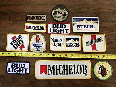 Bud Light, Bud, Busch, Michelob Beer Iron On 12 Patches.  Beer Patch set