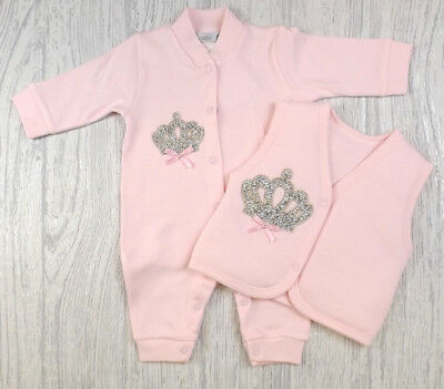Baby Girls Spanish Style Romany Pink Diamante Crown Romper & Gilet Outfit AW18