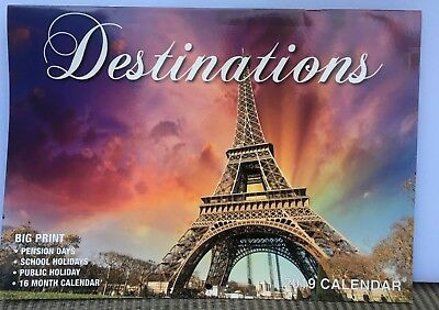 DESTINATIONS  2019 CALENDAR BIG PRINT AUSTRALIAN & NEW ZEALAND DATES - Free Post