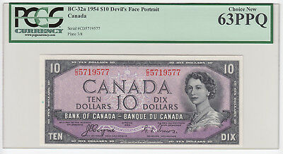 1954 Bank of Canada $10 Devil's Face - PCGS Choice New 63PPQ S/N: C/D5719577