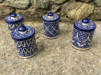 """Set of 4 Moroccan Blue and White Decorative Cylindrical Ginger Jars  8"""" High"""
