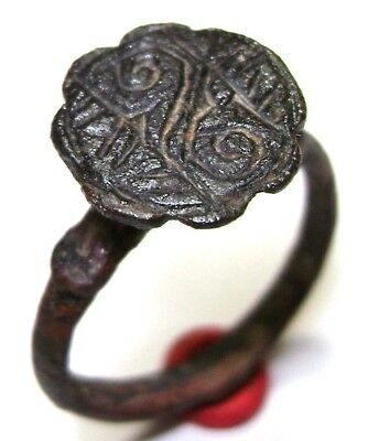 Ancient Rare Vikings Age bronze ring with ornament.