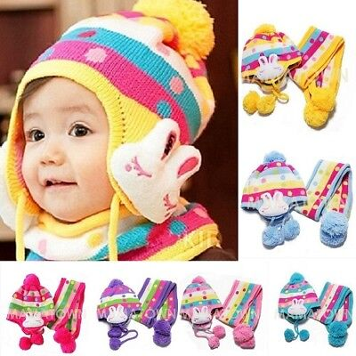 Kids Rabbit Hat Scarf Baby Winter Warm Knitted Cap Multicolor 1 To 7 Years Old