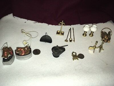 Miniature dollhouse fireplace accessories