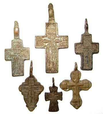 Ancient lot of 6 bronze Believer crosses Middle Ages.