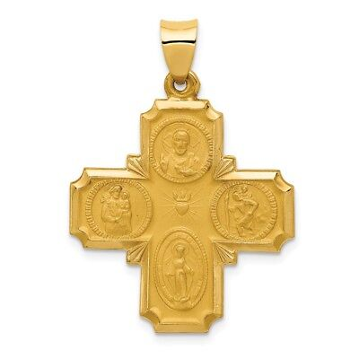 14K Yellow Gold Polished & Satin Finish Four Ways Cross Medal Religious Pendant
