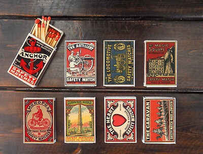 set of 8 matches box various sweden made in vintage style match holder printing