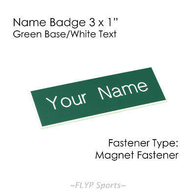 "Name Badge Tag Plate Green/White Magnet 3x1"" Personalised Engraved Customised..."
