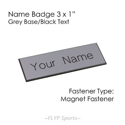 "Name Badge Tag Plate Grey/Black Magnet 3x1"" Personalised Engraved Customised ..."