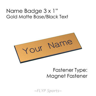 "Name Badge Tag Plate Gold Matte/Black Magnet 3x1"" Personalised Engraved Custo..."