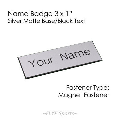 "Name Badge Tag Plate Silver Matte/Black Magnet 3x1"" Personalised Engraved Cus..."