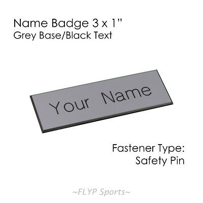 """Name Badge Tag Plate Grey/Black Safety Pin 3x1"""" Personalised Engraved Customi..."""