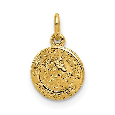 """14K Yellow Gold Polished St. Christopher """"Protect Us"""" Religious Medal Charm"""