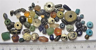 Zurqieh -Af1652- Ancient Egypt ,  Beautiful Lot Of 66 Glass Beads. 200 A.d