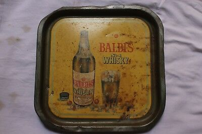 Old Vintage  beer Serving TRAY Tin Sign BALBIS No.1 WHISKY Tray IR 06