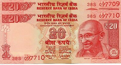 INDIA 20 Rupees 2017 P NEW Letter R x 2 Consecutive UNC Banknotes