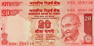 INDIA 20 Rupees 2011 P96m Letter R x 2 Consecutive UNC Banknote