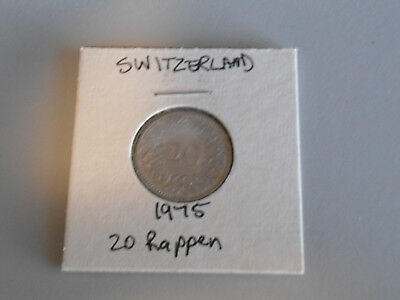 1975 Switzerland 20 Rappen coin Swiss twenty rappens